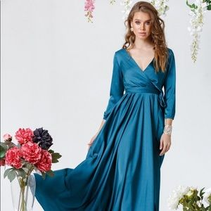 Aquamarine Bridesmaid Silk Wrap Maxi Dress